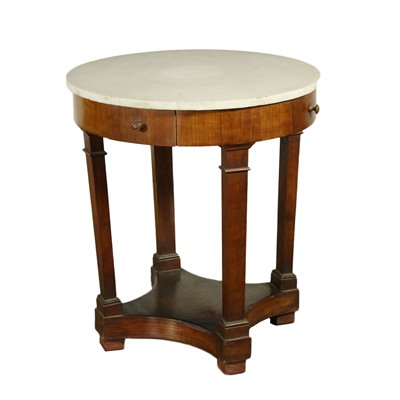 Empire Style Table Cherry Veneer and White Marble Italy 19th Century