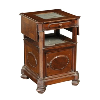 Umbertino Style Bedside Table Walnut Bardiglio Marble Italy 19th Cent