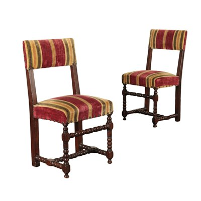 Pair Of Baroque Chairs Walnut Italy Late 17th Century