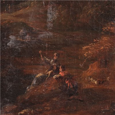 Classical Landscape with Figures Oil on Canvas 18th Century