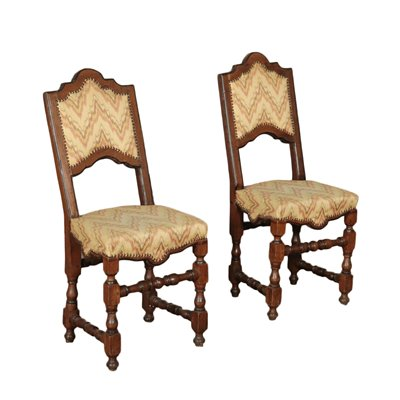 Pair Of Baroque Chairs Walnut Italy Early 18th Century