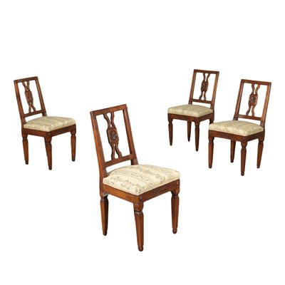 Group Of Four Neoclassical Chairs Walnut Italy Second Half '700