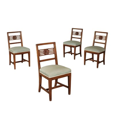 Group Of Four Chairs Empire Walnut Italy 19th / 20th Century