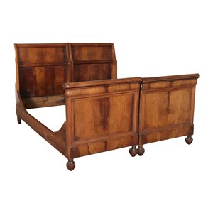 Boat-Shaped Queen Size Bed Walnut Italy 19th Century