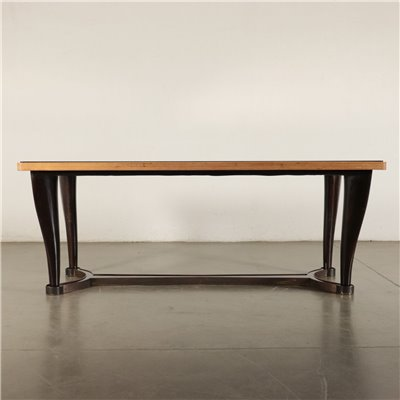 Table Ebonized Beech Mahogany Veneer Brass Mirrored Glass Italy 1950s