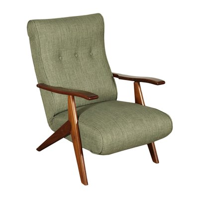 Armchair Stained Beechwood Foam Fabric Italy 1950s 1960s