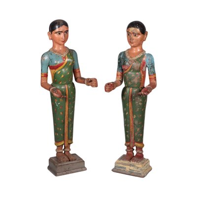 Pair of Statues of Asian Figures Exotic Wood India 20th century