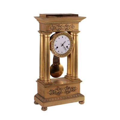 Temple-Shaped Carl X Clock Gilded Bronze France 19th Century