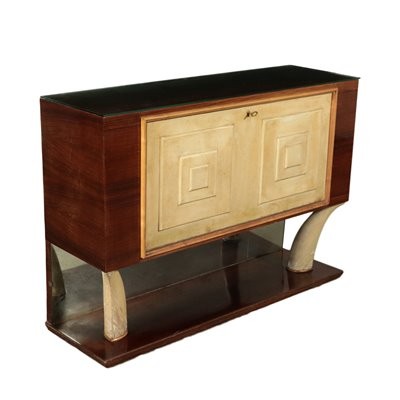 Bar Cabinet Rosewood Parchment Mirror Italy 1940s