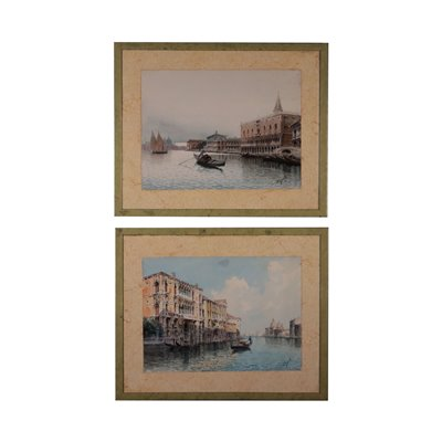 Two Venetian Glimpses Watercolors on Paper 20th Century