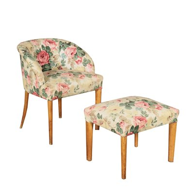 Armchair with Stool Springs Fabric and Beech Italy 1940s-1950s