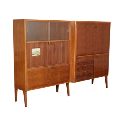 Cupboard Veneer and Glass Italy 1950s-1960s Italian Production