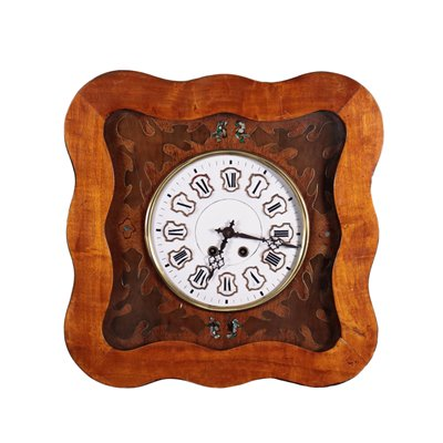 Wall Pendulum Clock Wood Mother of Pearl 19th Century