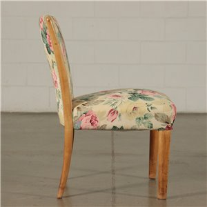 Chairs Springs Fabric and Beech Wood Italy 1940s-1950s