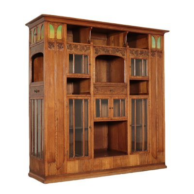 Liberty Bookcase Art Nouveau Sessile Oak Brass Italy End 800 Early 900