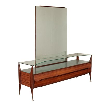 Dressing Table Rosewood Veneer Back Treated Glass Italy 1950s 1960s