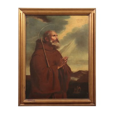 Saint Francis Of Paola Oil On Canvas 18th Century