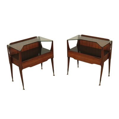 Bedside Tables Rosewood Veneer Back-Treated Glass Brass Italy 50s 60s