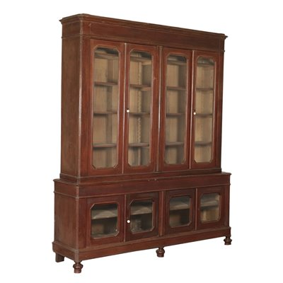 Walnut Stained White Poplar Bookcase Italy 19th Century