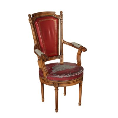 Neo-Classical Revival Armchair Beech and Padding Italy 20th Centtury