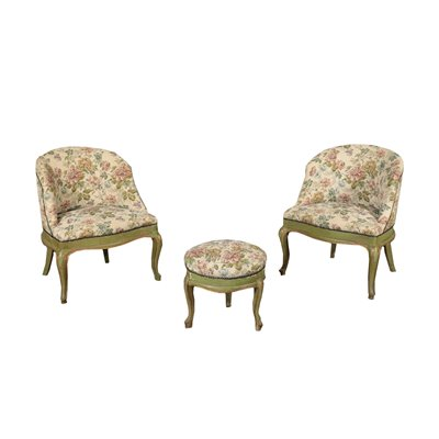 Pair of Barocchetto Revival Armchairs and Footrest Italy 20th Century