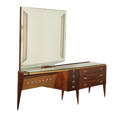 Chest Of Drawers Veneered Wood Mirror Glass Brass Italy 1950s 1960s