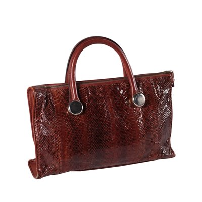 Vintage Brown Reptile Leather Bag 1970s