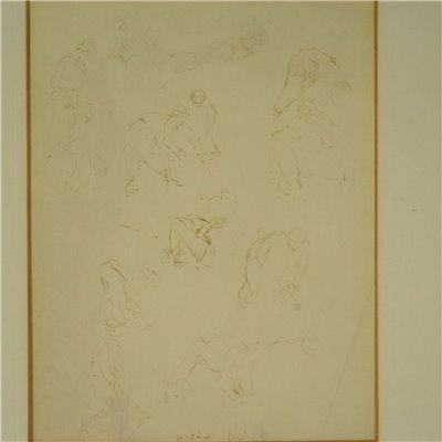 Study of Figures Pencil on Paper 1941