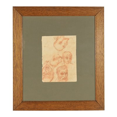 Study of Heads Blood on Paper 19th Century