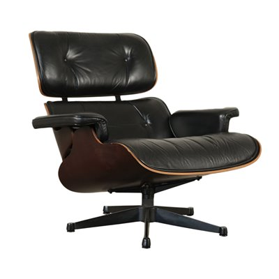 Charles And Ray Eames Swivel Armchair Wood Aluminum Leather 1960s 1970