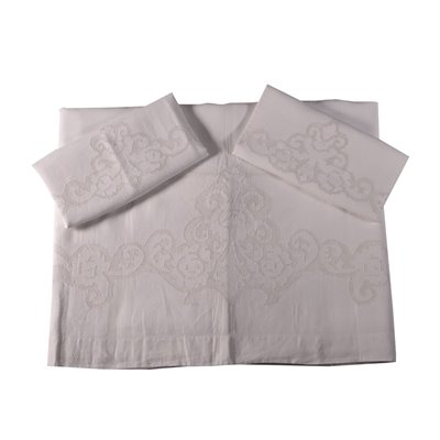 Double Bedsheet with 2 Pillowcases Linen Italy 20th Century