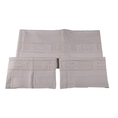 Double Bedsheet with Filet Inserts Linen