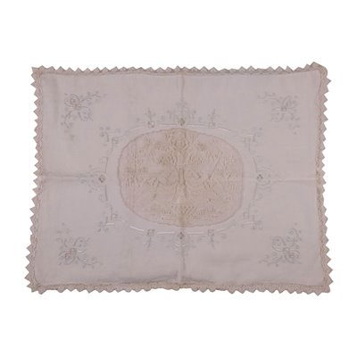 Linen Pillow Cover With Filet Embroidery