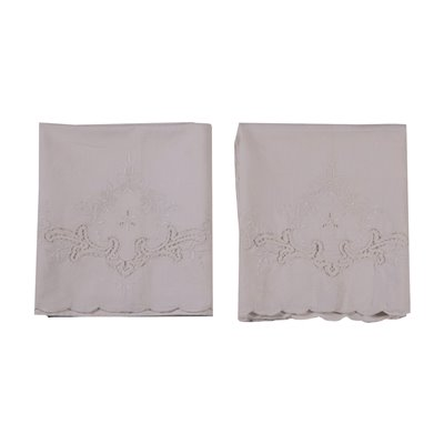 Pair Of Towels Linen Mix Bobbin Lace