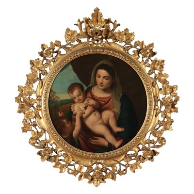 Virgin With Child And Young Saint John Oil On Panel 19th Century