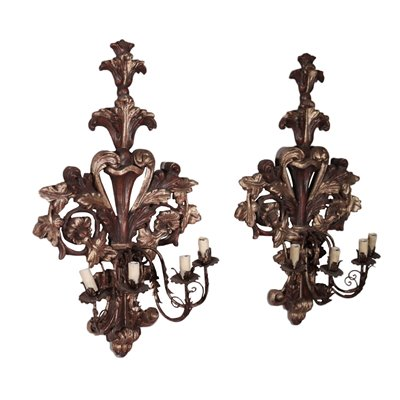 Pair of Wall Lights Wood Italy 20th Century