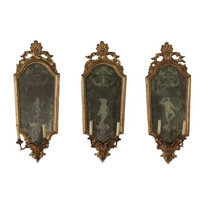Group of 3 Luois XIV Wall Mirror Iron and Wood 18th Century