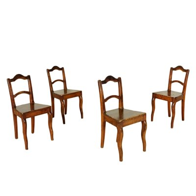 Group of 4 Louis Philippe Chairs Cherry Italy 19th Century