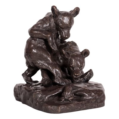 Couple of Bears with Froggy Bronze France 20th Century