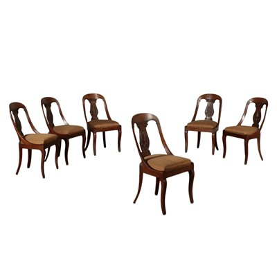 Group of 6 Restoration Gondola Chairs Walnut Padded Italy 19th Century
