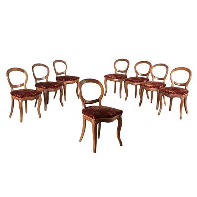 Group of 8 Louis Philippe Chairs Walnut Italy 19th Century