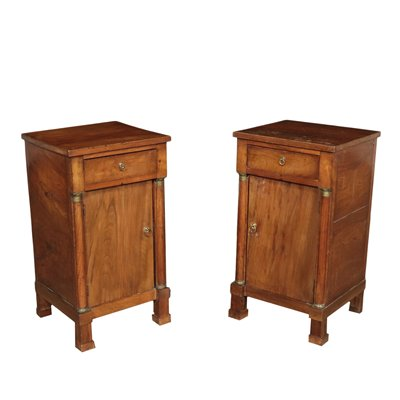 Pair of Empire Bedside Tables Walnut Bronze Italy 19th Century
