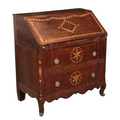 Inlaid North European Drop-Leaf Secretaire Marple Cherry 19th Century