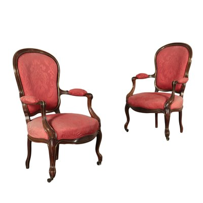 Pair of Louis Philippe Armchairs Padded Brass Germany 19th Century