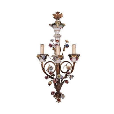 Wall Light Gilded Metal Wood andPorcelain 20th Century