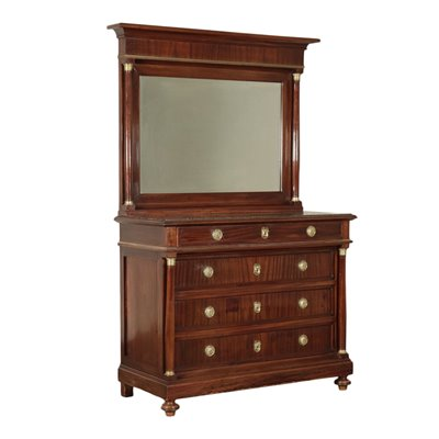 Empire Revival Chest of Drawers With Mirror Italy 19th-20th Century