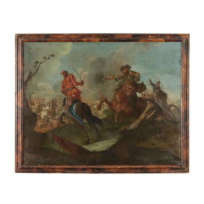 Battle Scene Oil On Canvas 17th Century
