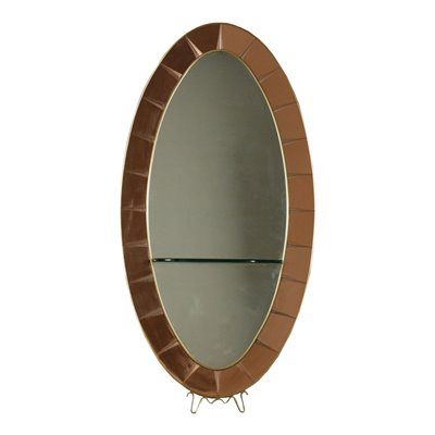 Cristal Art Mirror Wood Glass Brass Mirrored Glass Italy 1950s