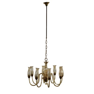 Chandelier Amber Glass Brass Vintage Italy 1950s