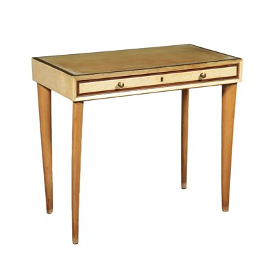 Writing Desk Beech Glass Parchment Paper Italy 1950s